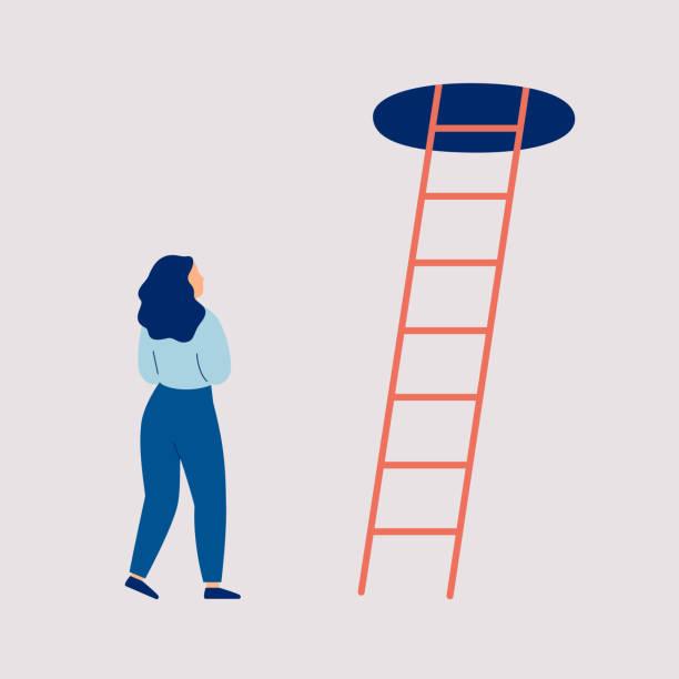 女孩在懷疑和優柔寡斷站在樓梯的頂部 - 不確定 幅插畫檔、美工圖案、卡通及圖標