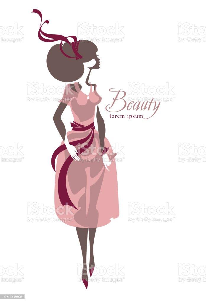 Ilustración de Chica En Vestido Con Cintas Moda Retro Vestidos Para ...