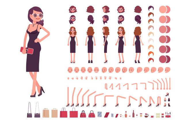Fille en robe de soirée de création de caractères - Illustration vectorielle
