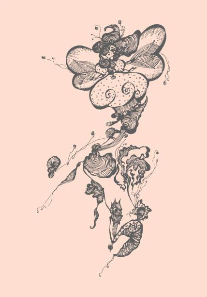 ilustrações, clipart, desenhos animados e ícones de menina na flor. ilustração em vetor desenhados à mão. - fontes de tatuagem