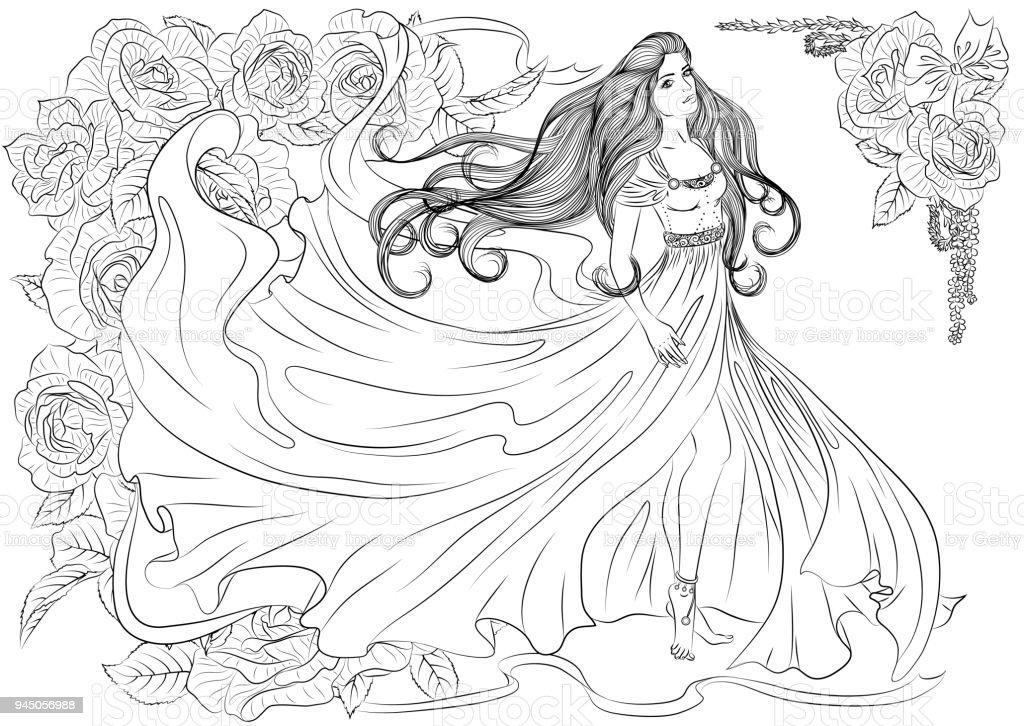 ひらひらドレスの女の子 ぬりえブックのベクターアート素材や画像を