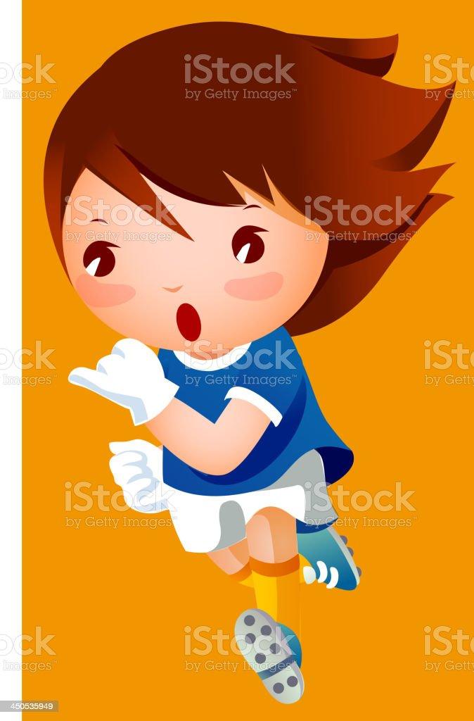 Girl in football player uniform royalty-free stock vector art