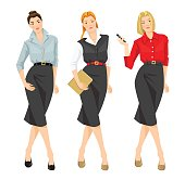Vector illustration of  girl in different formal clothes