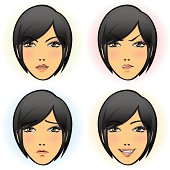 Girl in four Facial Expression (Asian)
