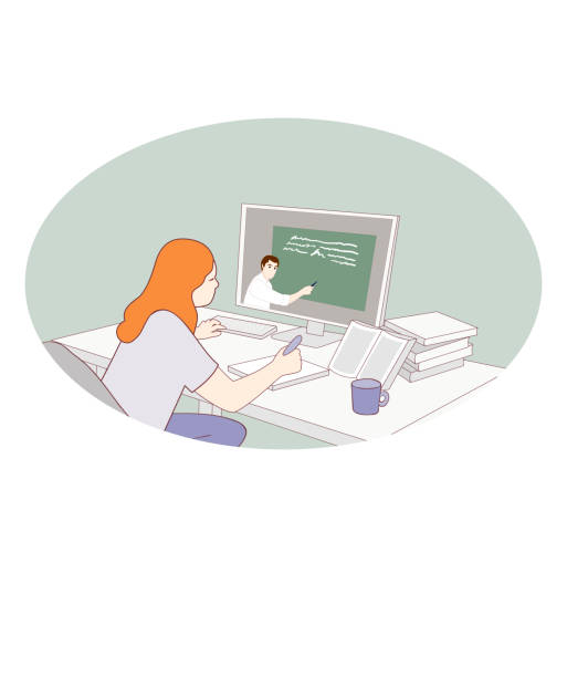 ilustrações de stock, clip art, desenhos animados e ícones de girl in front of monitor studying online. home schooling concept. distance education. student makes homework at the desk. work from home. stay at home lifestyle. vector - young girl computer home front