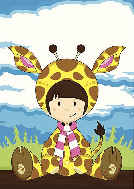 mädchen in giraffe kostüm - giraffenkostüm stock-grafiken, -clipart, -cartoons und -symbole