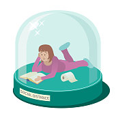 Vector Illustration of a Girl in Glass Dome Doing Social Distance