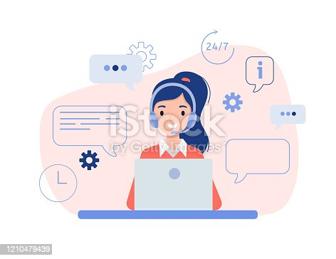 Girl in headphones sitting in front of a laptop. The concept of online help, training and consulting clients. Vector illustration in flat design style.
