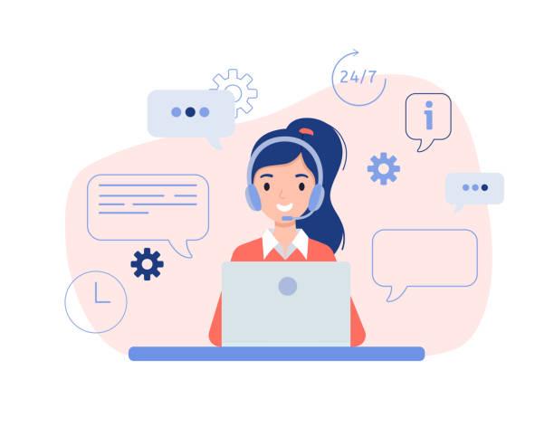 dziewczyna w słuchawkach siedzi z laptopem. - obsługa stock illustrations