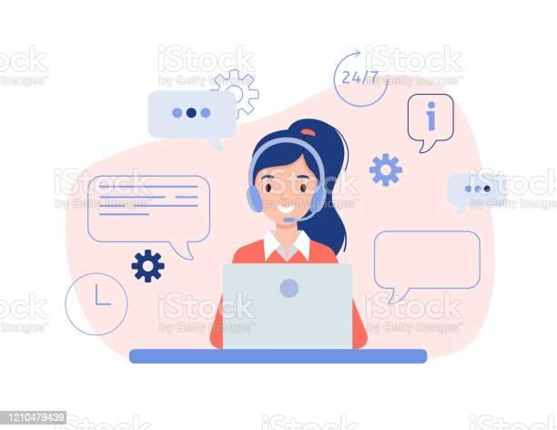 노트북과 함께 앉아 헤드폰에 소녀 IT 지원에 대한 스톡 벡터 아트 및 기타 이미지
