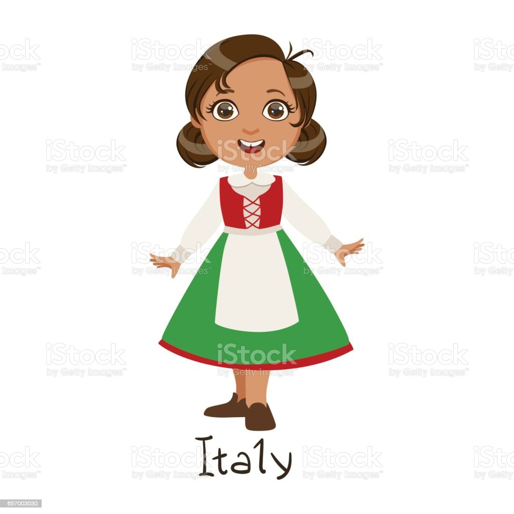 Girl In Italy Country National Clothes Wearing Green Skirt