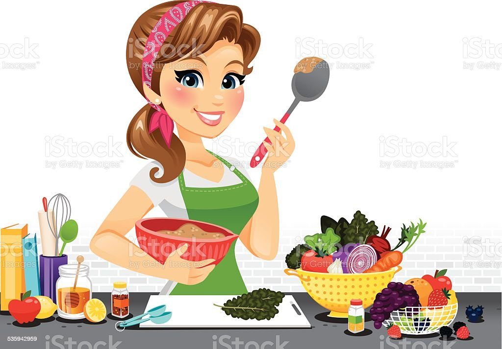 Girl in Kitchen vector art illustration