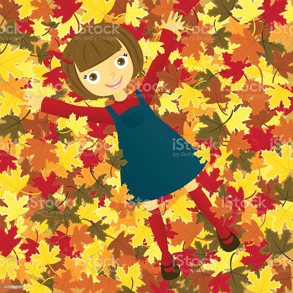 Girl in Leaves A vector illustration of a smiling girl laying in a pile of autumn leaves. Autumn stock vector