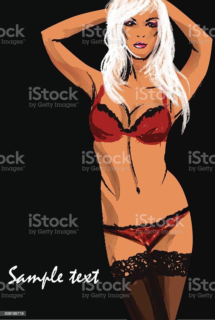 4b9b58505e390 Garota em lingerie e meias. Desenho de moda. vetor de garota em lingerie e
