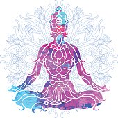 girl in lotus pose over ornate round mandala pattern. Yoga