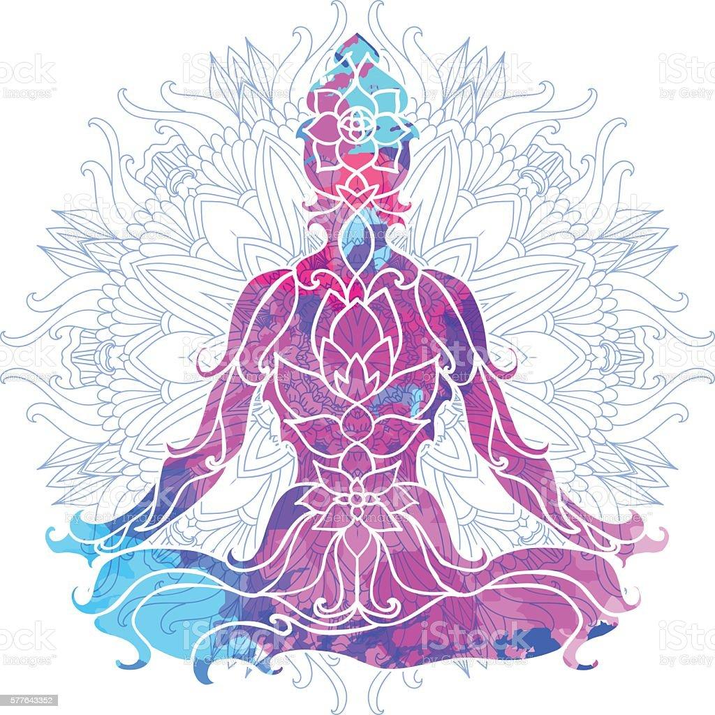 girl in lotus pose over ornate round mandala pattern. Yoga vector art illustration