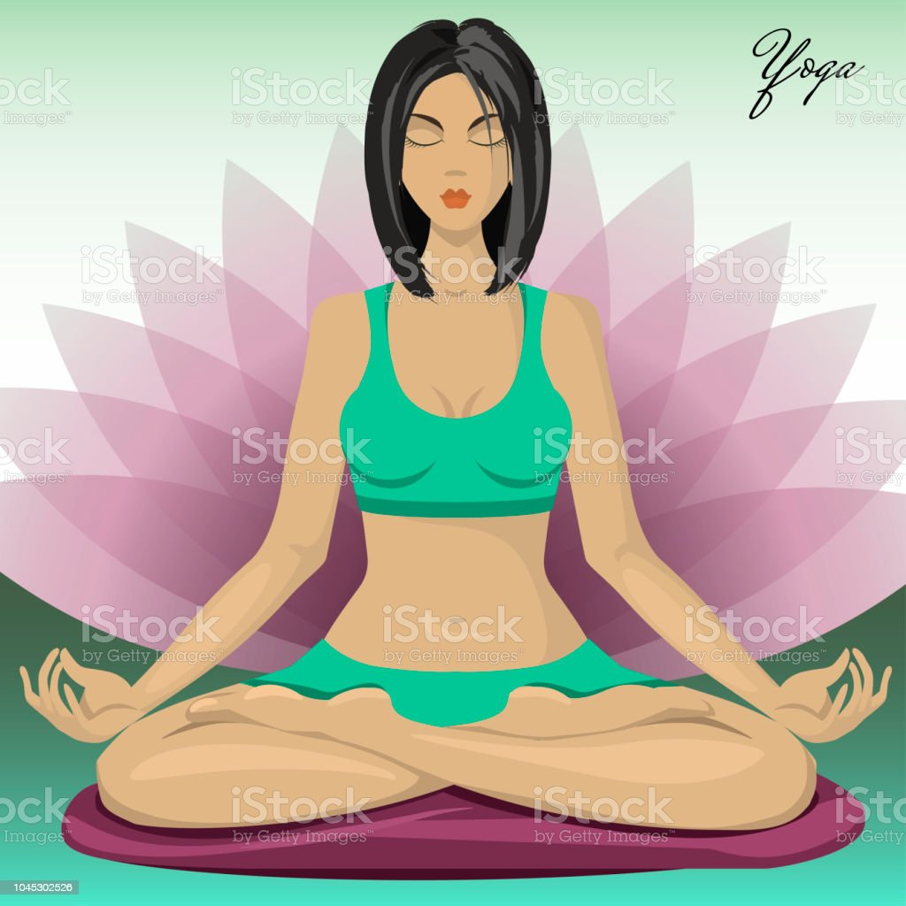 Mädchen In Lotuspose Yoga Und Meditation Stock Vektor Art und mehr ...