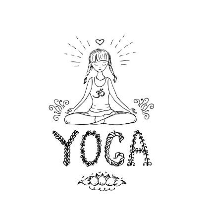 girl in lotus yoga pose doodle hand drawn vector