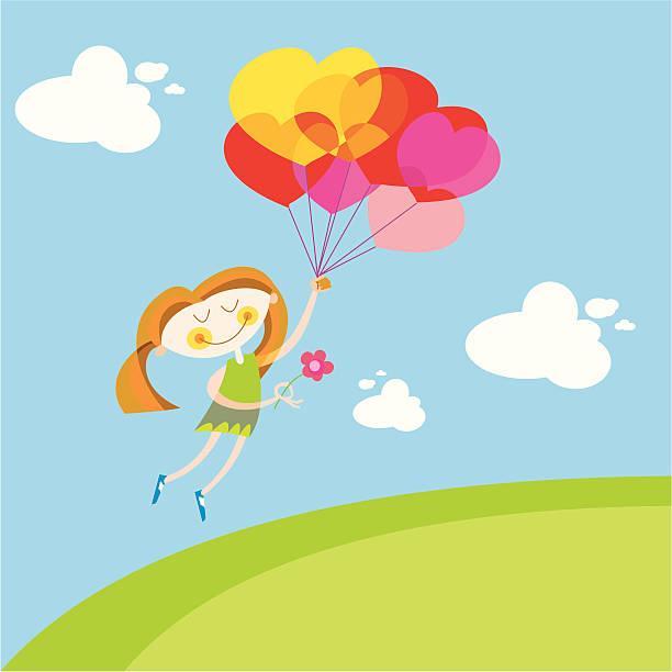 ilustraciones, imágenes clip art, dibujos animados e iconos de stock de chica en el amor, flying - tintanegra00