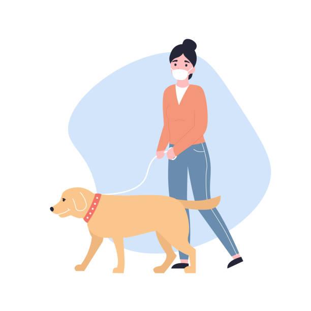 girl in medical masks walks with a dog vector art illustration