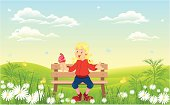 vector illustration of girl with ice cream in nature