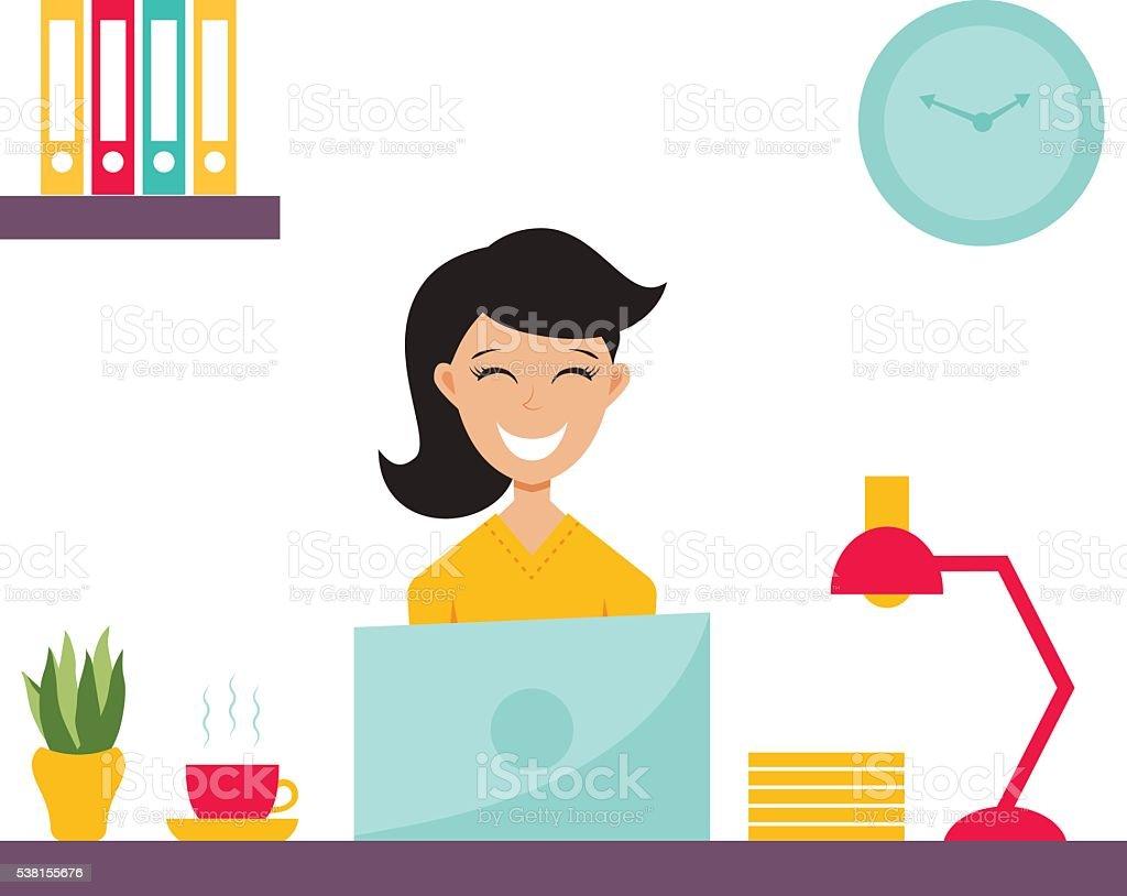 girl in office vector art illustration