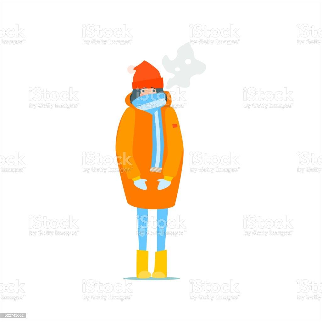 Girl In Orange Winter Coat vector art illustration