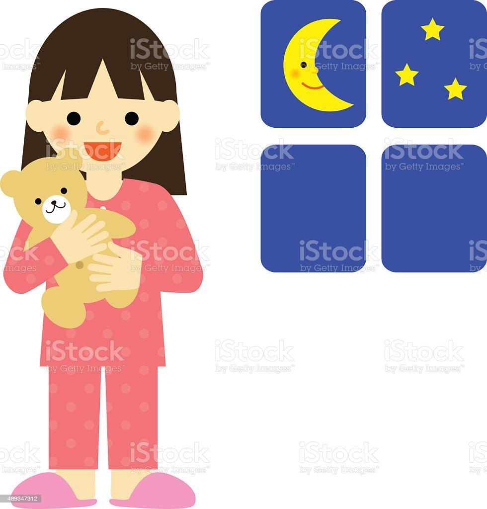 Girl in pajamas hugging a teddy bear vector art illustration