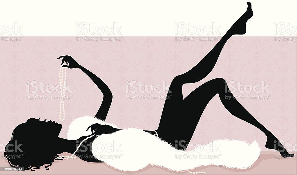 Girl in Pearls royalty-free stock vector art