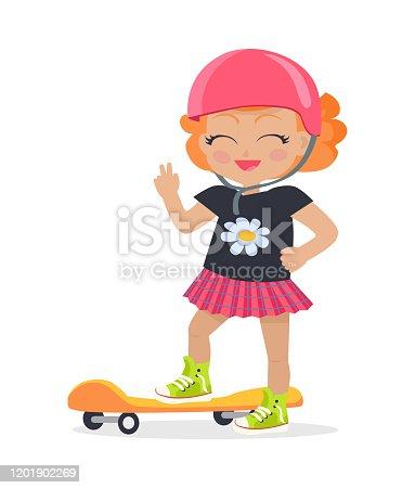 Girl in Pink Helmet and Skirt. Orange Skateboard