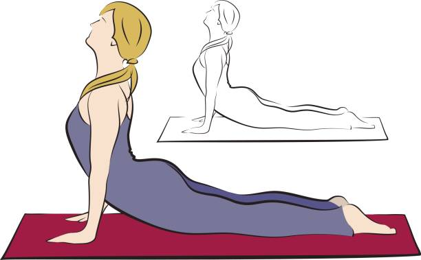 Girl in purple yoga pants on the red mat. vector art illustration
