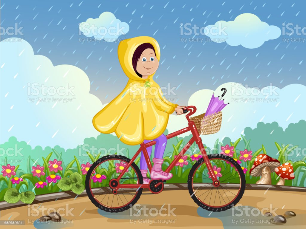 Girl in raincoat riding on a bicycle under the rain. vector art illustration