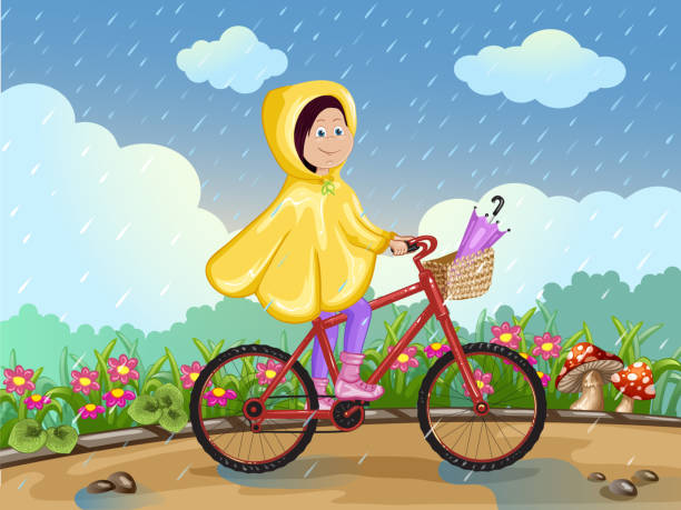 girl in raincoat riding on a bicycle under the rain. - kids playing in rain stock illustrations, clip art, cartoons, & icons