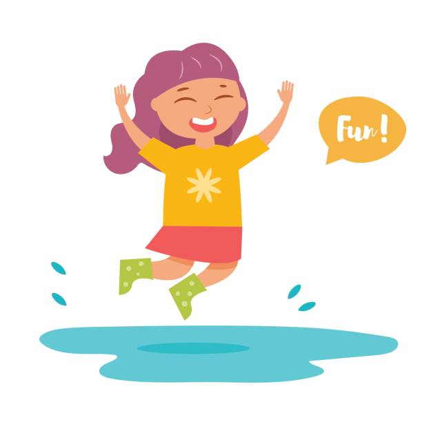 girl in rubber boots jumping in a puddle - kids playing in rain stock illustrations, clip art, cartoons, & icons