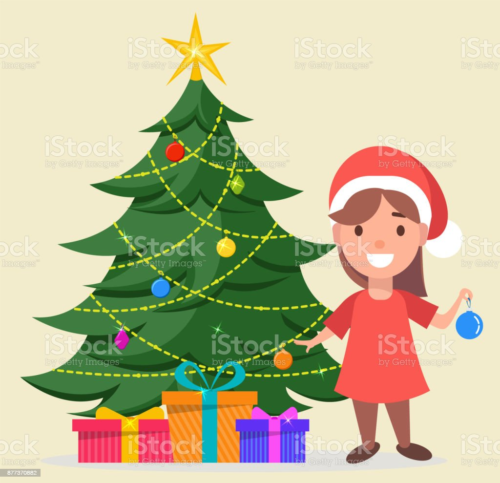 Girl in Santa Claus hat standing near decorated Christmas tree with gift boxes under it vector art illustration