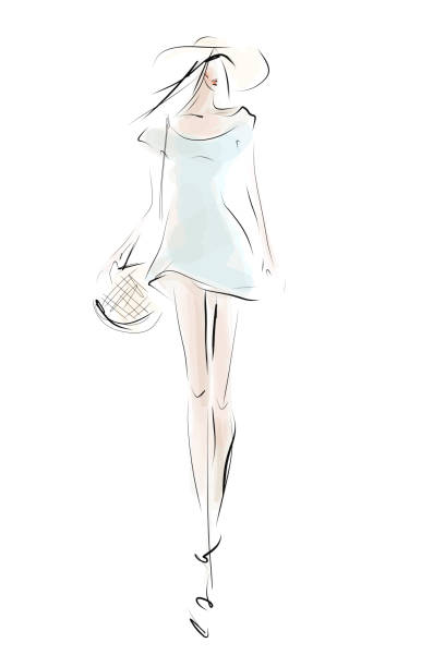 girl in summer outfit. hand-drawn fashion illustration - summer fashion stock illustrations, clip art, cartoons, & icons