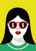 Close-up of a girl in sunglasses with a reflection of the dollar sign