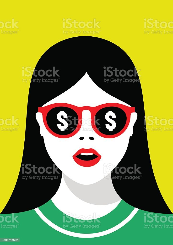 Girl in sunglasses with a reflection of money vector art illustration