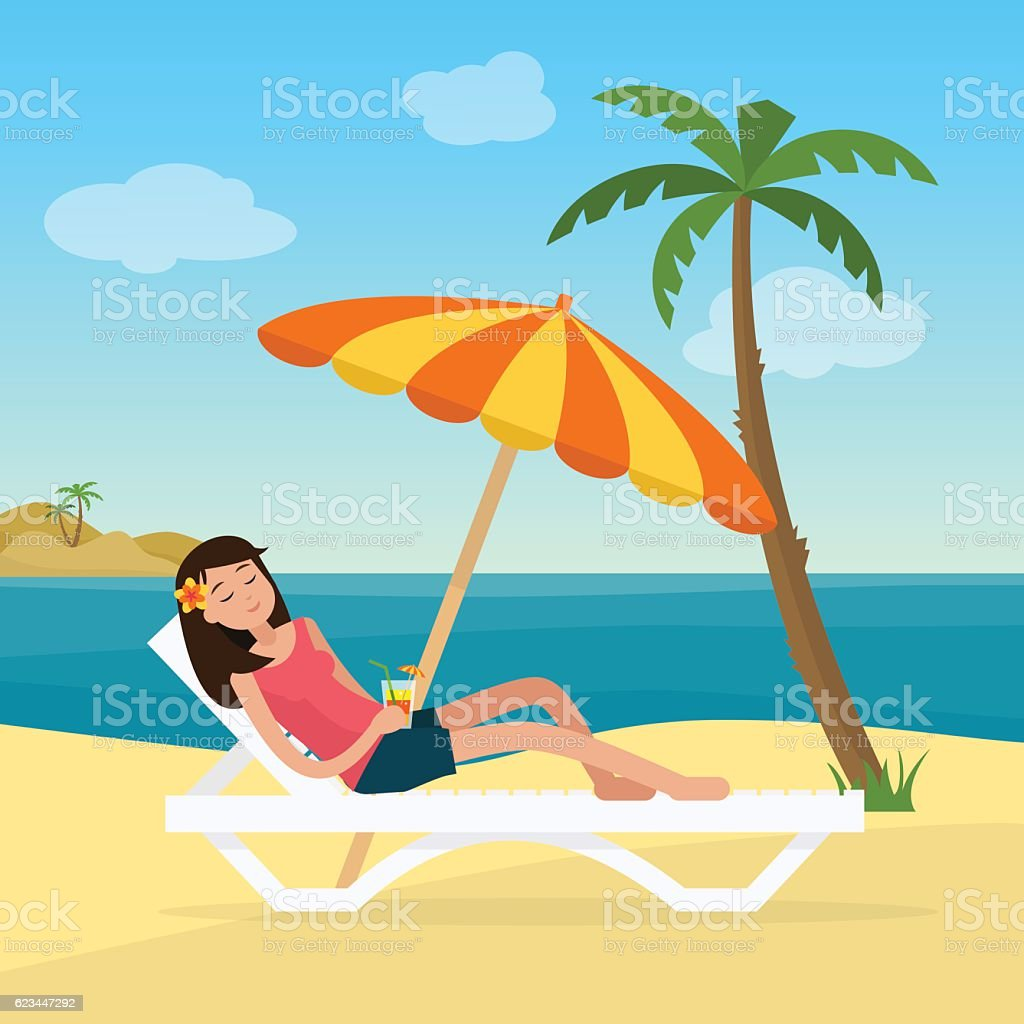 Girl in swimsuit in hammock with palm trees on beach. vector art illustration