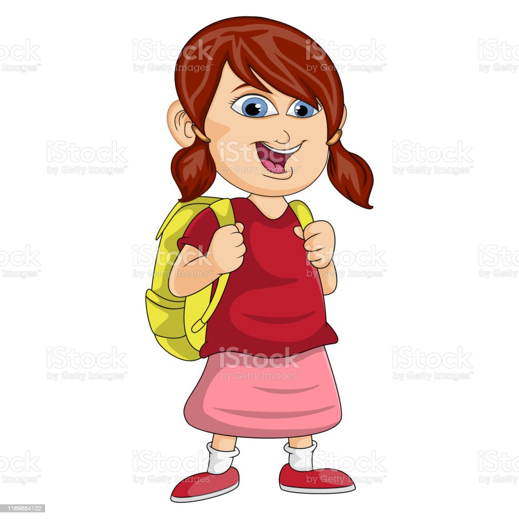 Animated Skirt girl in the backpack wearing the red shirt and pink skirt is
