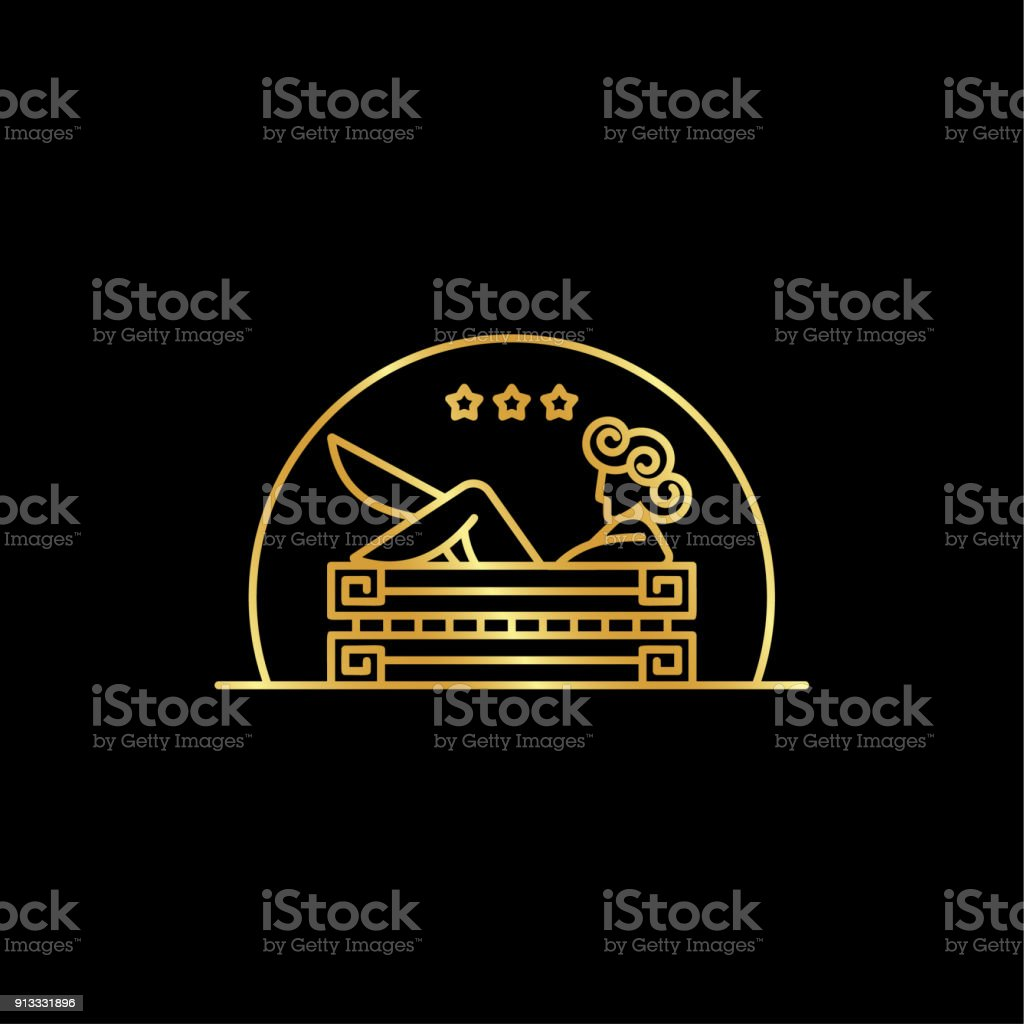 Girl in the bath. Linear abstract illustration of the goddess in the bathroom in the Greek style. vector art illustration