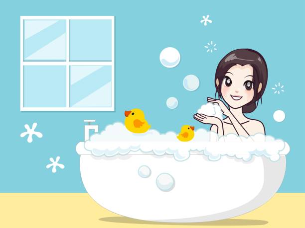 Girl in the bath. Girl in the bath With happiness and good mood. bubble bath stock illustrations