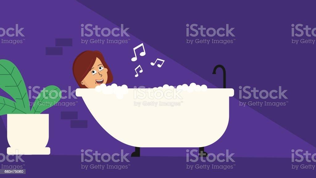 Girl In The Bath vector art illustration