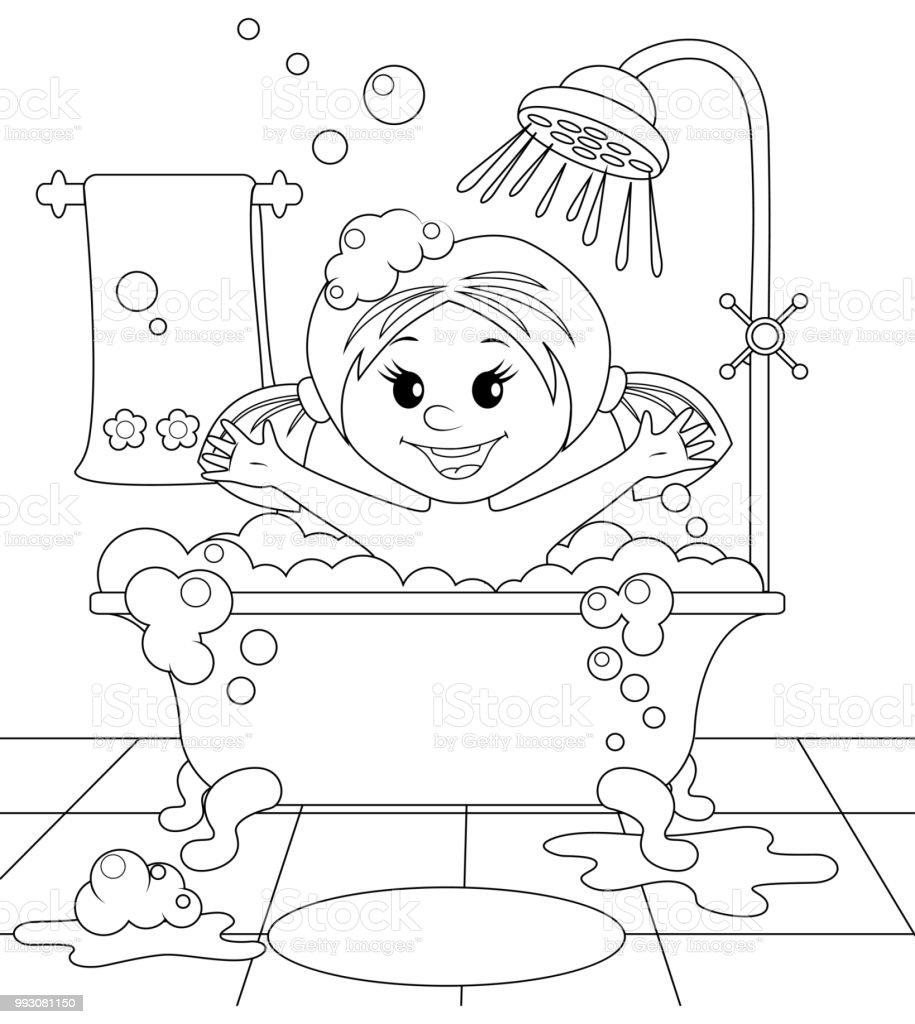 Mädchen Im Bad. Schwarz / Weiß Vektor Illustration Für Malbuch Lizenzfreies  Mädchen Im