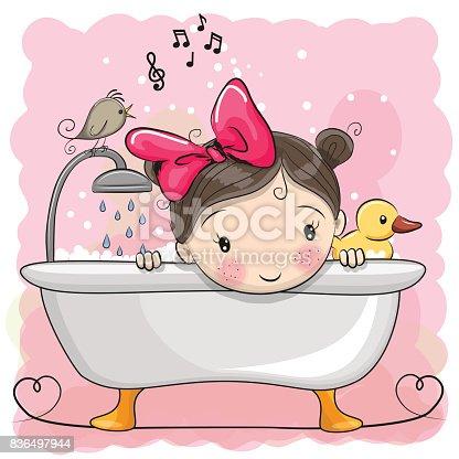 Cute cartoon Girl in the bathroom