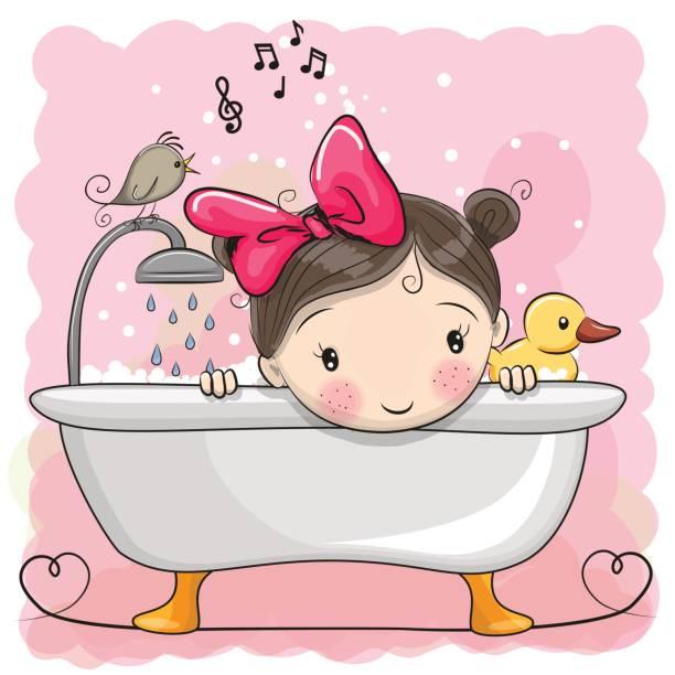 bildbanksillustrationer, clip art samt tecknat material och ikoner med flicka i badrummet - baby bathtub