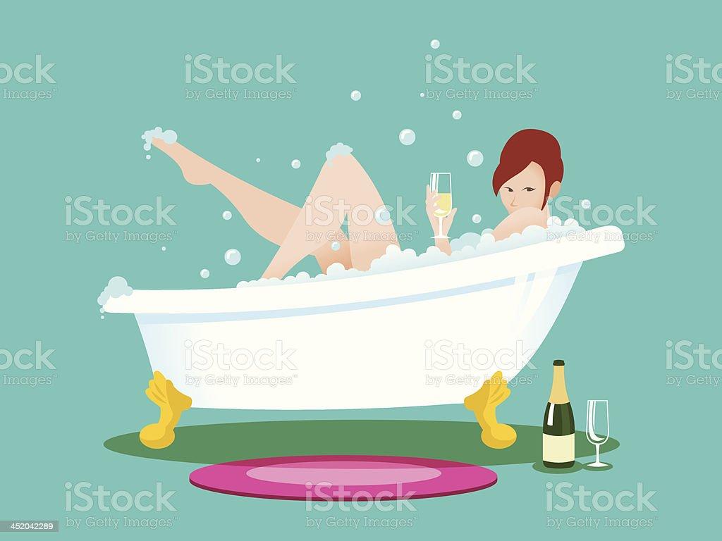 Girl in the Bathtub vector art illustration