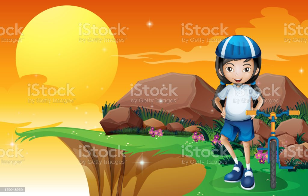 Girl in the cliff royalty-free stock vector art
