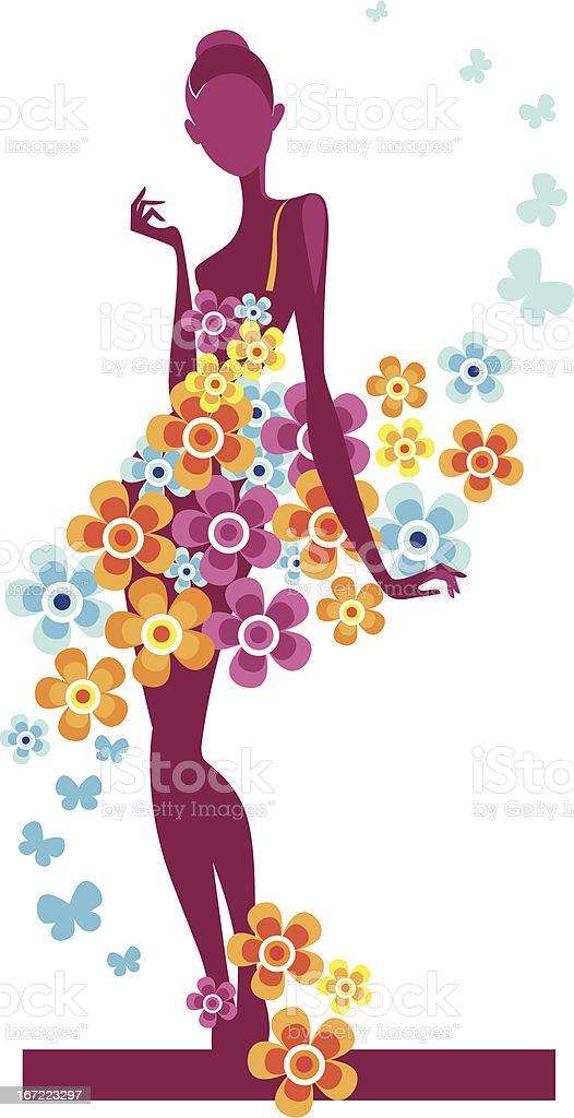 girl in the flowers dress royalty-free stock vector art