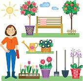 Girl in the garden. Growing plants